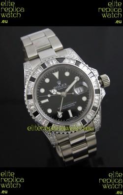 Rolex GMT Master II Swiss Replica Steel Watch in Diamond Bezel