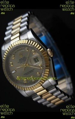 Rolex Day Date Just swiss Replica Two Tone Gold Watch in Golden Dial