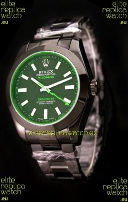 Rolex Milguass Prohunter Swiss PVD Watch in Green Dial