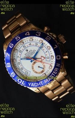 Rolex Replica Yachtmaster II Swiss Watch Rose Gold - 1:1 Mirror Replica Watch