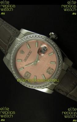 Rolex Replica Datejust Swiss Replica Watch - 37MM - Champange Dial/Grey Strap
