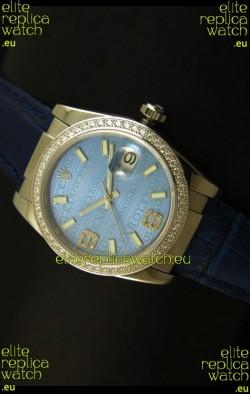 Rolex Replica Datejust Swiss Replica Watch - 37MM - Blue Dial/Strap