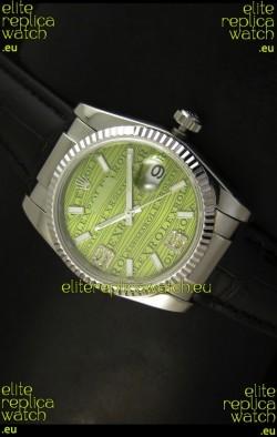 Rolex Replica Datejust Swiss Replica Watch - 37MM - Green Dial/Strap