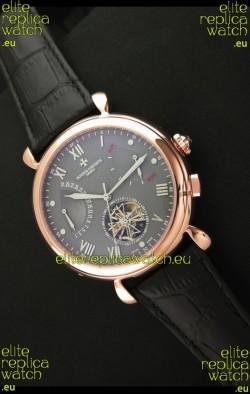 Vacheron Constantin Reserve Tourbillon Japanese Replica Rose Gold Watch in Grey Dial
