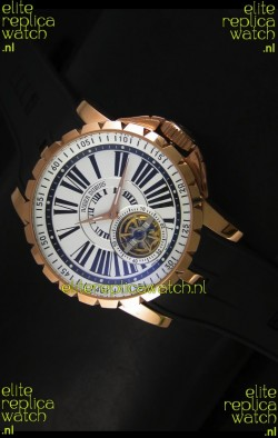 Roger Dubuis Excalibur Tourbillon Watch - Rose Gold Plating White Dial