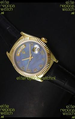 Rolex Day Date 36MM Yellow Gold Swiss Replica Watch - Blue MOP Dial