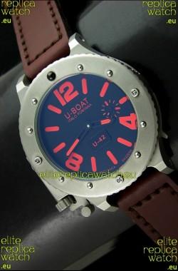 U Boat U-42 Diver Titanium Swiss Watch in Red Markers