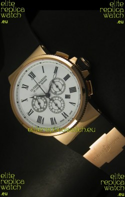 Ulysse Nardin Marine Chronograph Rose Gold White Roman Black Dial - 1:1 Mirror Replica
