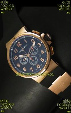Ulysse Nardin Marine Chronograph Rose Gold Black Arabic Black Dial - 1:1 Mirror Replica