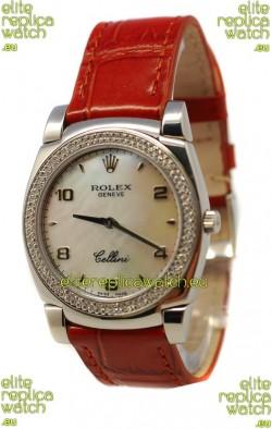 Rolex Cellini Cestello Ladies Swiss Watch Pearl in Diamonds Bezel