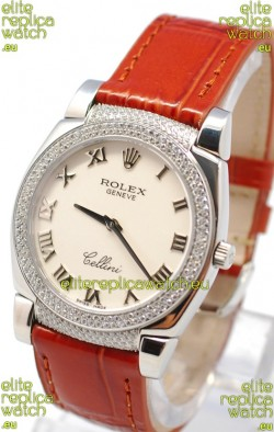 Rolex Cellini Cestello Ladies Swiss Watch Roman White Face Diamonds Bezel and Lugs