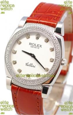 Rolex Cellini Cestello Ladies Swiss Watch White Face Diamonds Hour, Bezel and Lugs