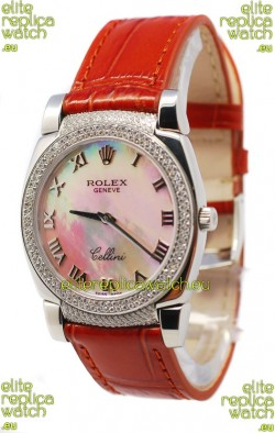 Rolex Cellini Cestello Ladies Swiss Watch White Pearl Roman Face Diamonds Bezel and Lugs