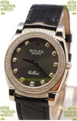Rolex Cellini Cestello Ladies Swiss Watch in Matte Black Face and Diamond Bezel