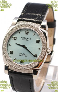 Rolex Cellini Cestello Ladies Swiss Watch in Blue Face Black Leather Strap Diamonds Bezel