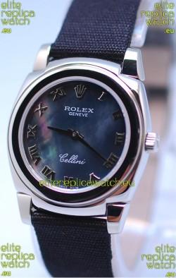 Rolex Cellini Cestello Ladies Swiss Watch in Black Pearl Face