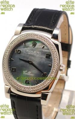 Rolex Cellini Cestello Ladies Swiss Watch in Black Pearl Face Diamonds Bezel