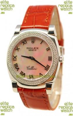 Rolex Cellini Cestello Ladies Swiss Watch Beige Pearl Roman Face Diamonds Bezel