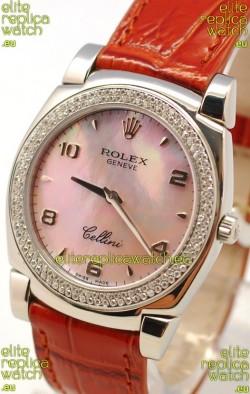 Rolex Cellini Cestello Ladies Swiss Watch in Pink Pearl Face Diamonds Bezel
