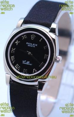 Rolex Cellini Cestello Ladies Swiss Black Watch in Roman Markers