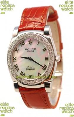 Rolex Cellini Cestello Ladies Swiss Watch White Pearl Roman Diamonds Bezel