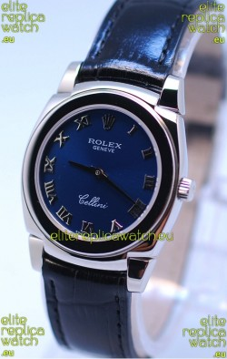 Rolex Cellini Cestello Ladies Swiss Blue Watch in Roman Markers