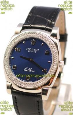 Rolex Cellini Cestello Ladies Swiss Watch in Dark Blue Face Diamonds Bezel