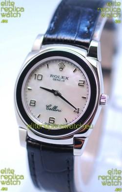 Rolex Cellini Cestello Ladies Swiss Watch in White Pearl Face