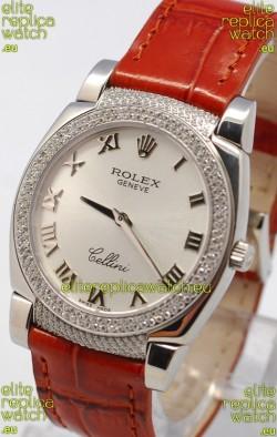 Rolex Cellini Cestello Ladies Swiss Watch in Silver Face Diamonds Bezel and Lugs