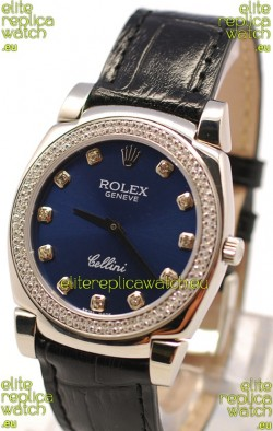 Rolex Cellini Cestello Ladies Swiss Watch in Dark Blue Face and Diamond Bezel
