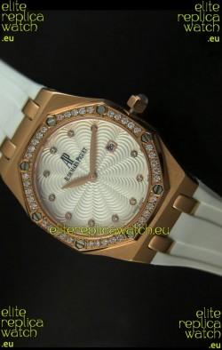Audemars Piguet Royal Oak Ladies Quartz Replica Watch in Pink Gold Case