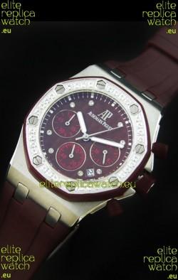 Audemars Piguet Royal Oak Offshore Lady Alinghi Swiss Watch in Maroon Dial