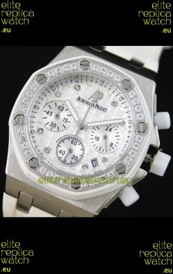 Audemars Piguet Royal Oak Offshore Lady Alinghi Swiss Watch in White Checkered Dial