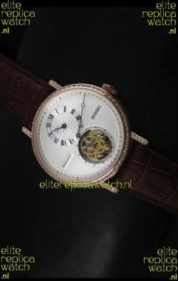 Breguet Classique Tourbillon Swiss Replica Watch in Rose Gold with Diamonds Bezel