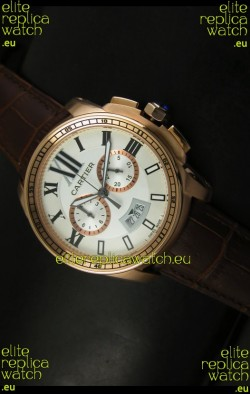 Calibre De Cartier Chronograph Japanese Replica Watch in Pink Gold