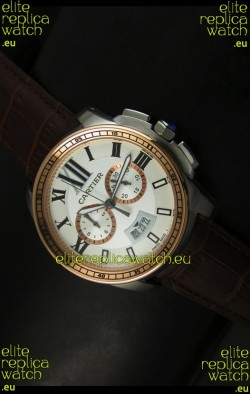 Calibre De Cartier Chronograph Japanese Replica Watch in Two Tone