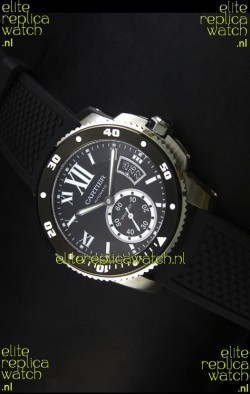 Calibre De Cartier Watch 42MM Black Dial Steel Case -  1:1 Mirror Replica Watch