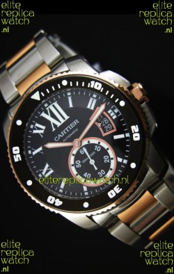 Calibre De Cartier Watch 42MM Black Dial Two Tone Case -  1:1 Mirror Replica Watch