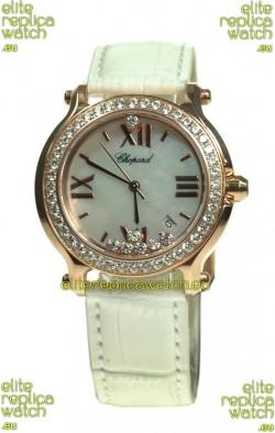 Chopard Happy Sport Swiss Ladies Swiss Replica Gold Watch in Diamond Bezel