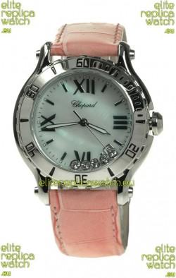 Chopard Happy Sport Diamonds Edition Replica Watch in Pink Strap