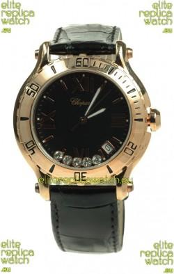 Chopard Happy Sport Diamonds Edition Replica Gold Watch in Black Strap