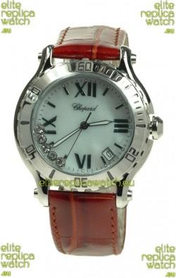 Chopard Happy Sport Diamonds Edition Replica Watch in Brown Strap
