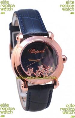 Chopard Happy Sport Star Shaped Diamonds Swiss Rose Gold Watch