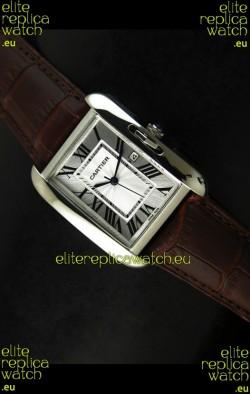 Cartier Tank Ladies Replica Watch in Steel Case/Brown Strap
