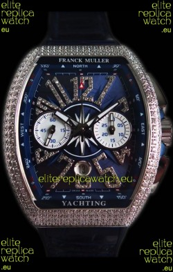 Franck Muller Vanguard Chronograph 904L Steel Blue Dial with Diamonds Swiss Watch