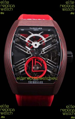 Franck Muller Vanguard Skeleton Tourbillon Red Carbon Swiss Replica Watch