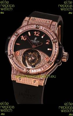 Hublot Tourbillon Solo Bang Sapphires Pink Gold Swiss  Watch