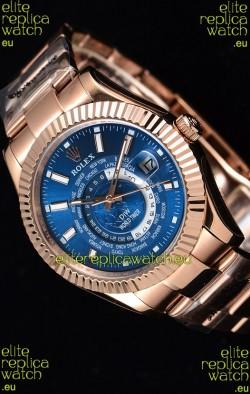 Rolex SkyDweller Swiss Watch in 18K Rose Gold Case - DIW Edition Deep Blue Dial