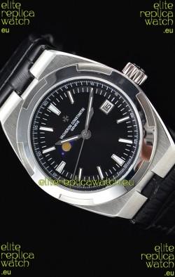 Vacheron Constantin Overseas MoonPhase Stainless Steel Swiss Watch in Black Dial