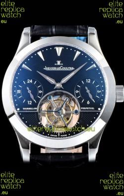Jaeger LeCoultre Perpetual Tourbillon 904L Steel Case Black Dial Swiss Replica Watch